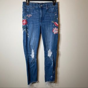 Express Distressed Floral Ankle Legging Jeans 6P
